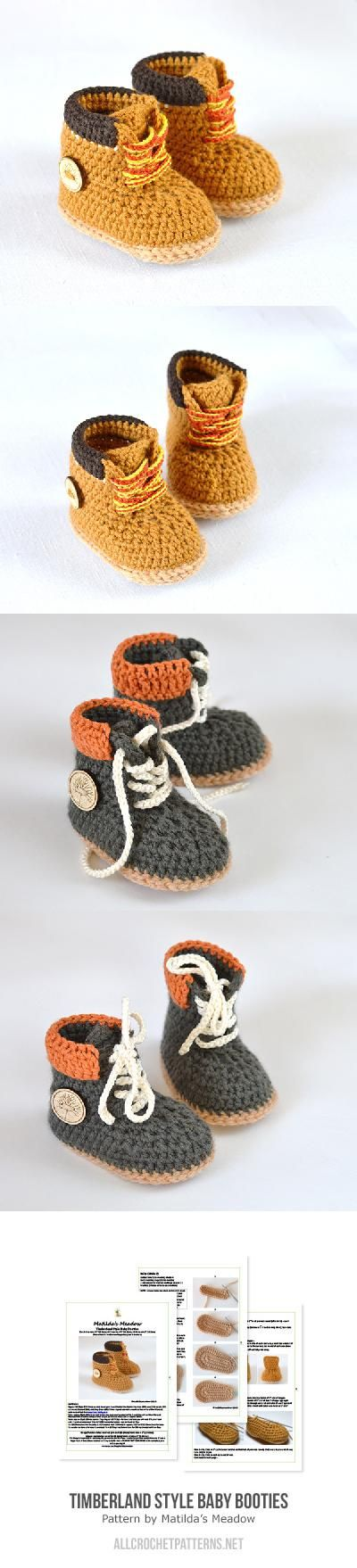 Timberland style baby booties crochet pattern by Matilda\'s Meadow ...