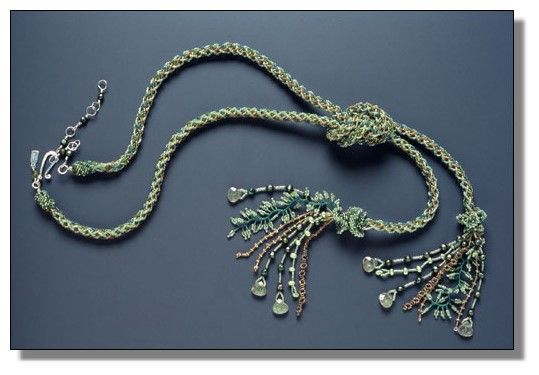 Verdigris Kumihimo~~~ Lariat Necklace~~~This necklace includes:  Seed beads, pearls, green quartzLapis, citrine, sterling findings, love beads