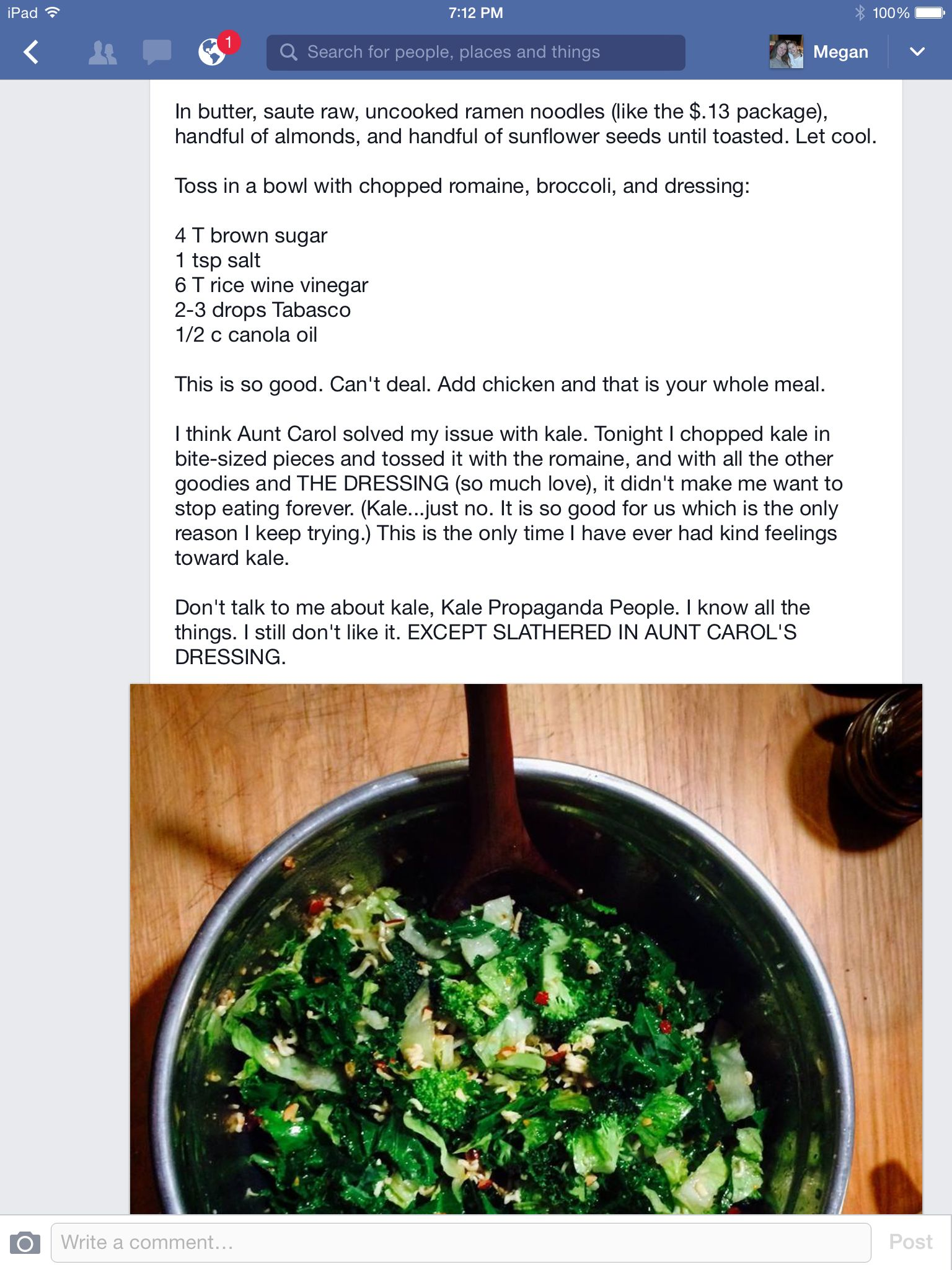 Aunt Carol S Crunchy Salad Jen Hatmaker No Link Just