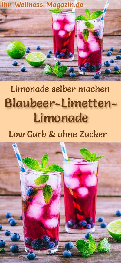 Blaubeer-Limetten-Limonade selber machen - Low Carb & ohne Zucker #lemonade