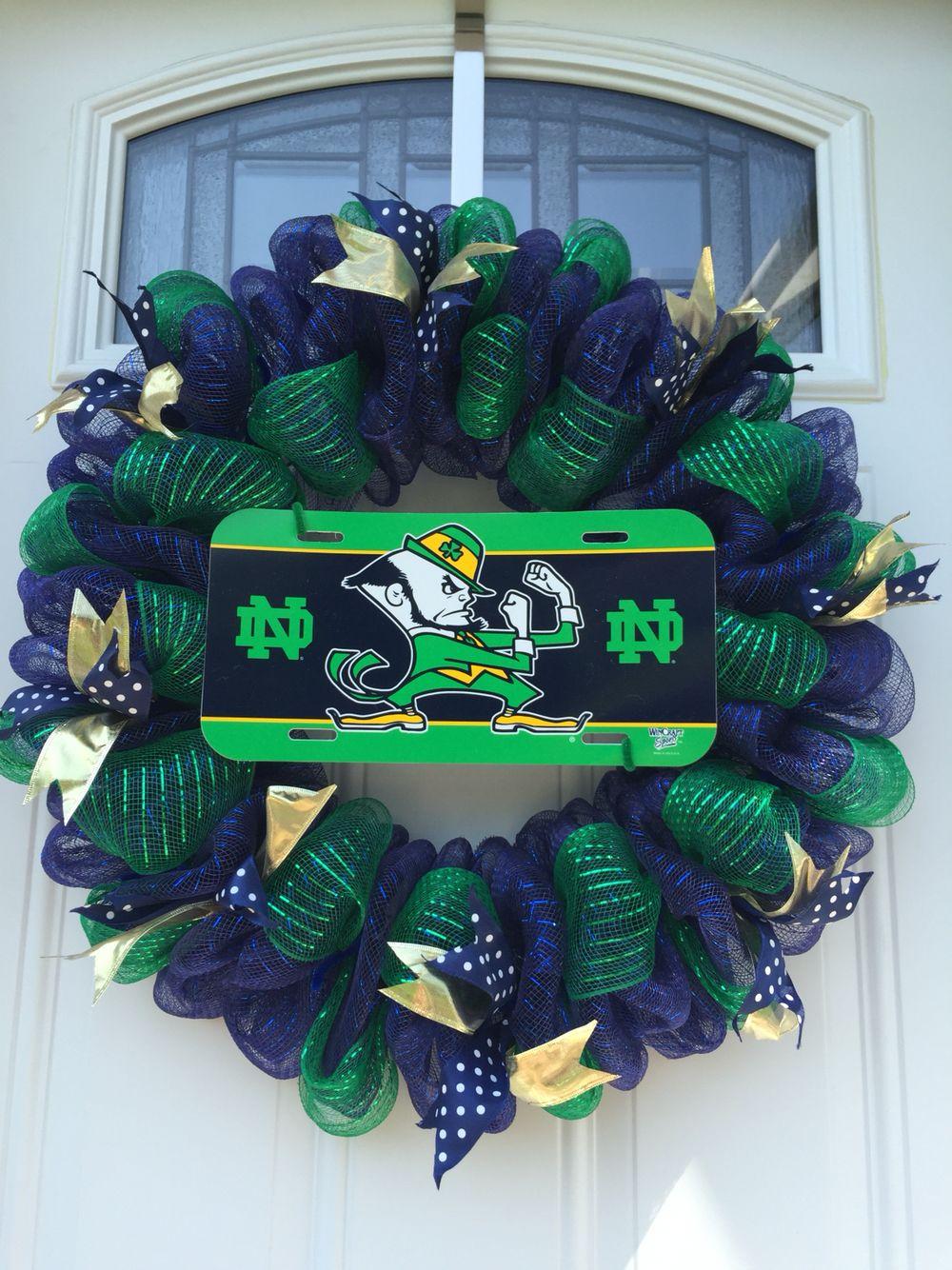 Notre Dame deco mesh wreath Football decorations, Wreath