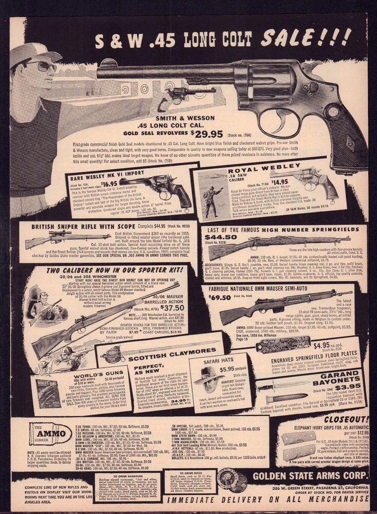 1959 SMITH & WESSON  45 Long Colt Revolver in Golden State Arms PRINT AD is part of Smith wesson - I will do all in my power to correct the situation    eBay!