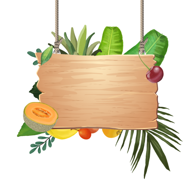 Decoration Of Tropical Fruits With Wooden Hanging