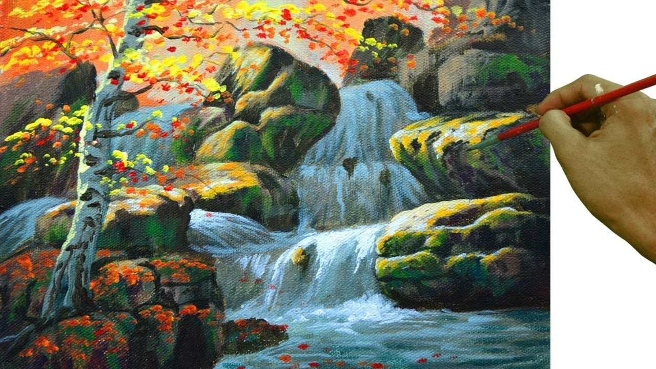 Acrylic Landscape Painting Tutorial Autumn Birch Tree With Waterfall Youtube Landscape Paintings Acrylic Painting Acrylic Painting Flowers