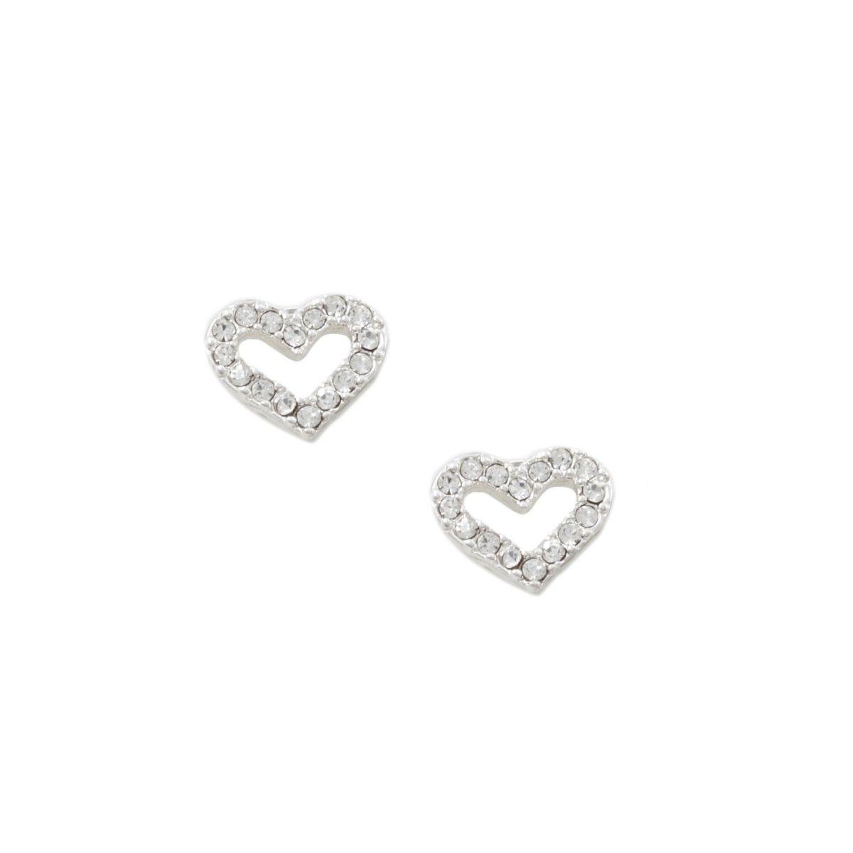 Start your Valentine's Day shopping early! Get her something she will love! #fashionjewelry #ValentinesDay #RT Silver Crystal Rhinestone Tiny Heart Shape Stud Earrings