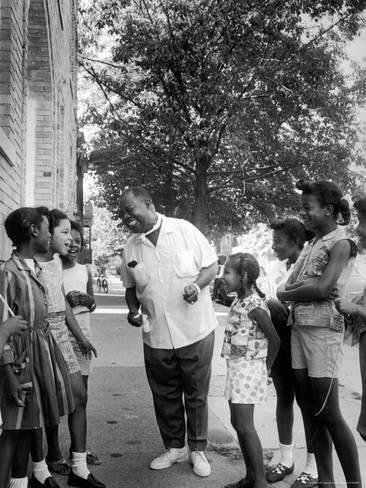 Premium Photographic Print: Musician Louis Armstrong with Neighborhood Kids by John Loengard : 24x18in