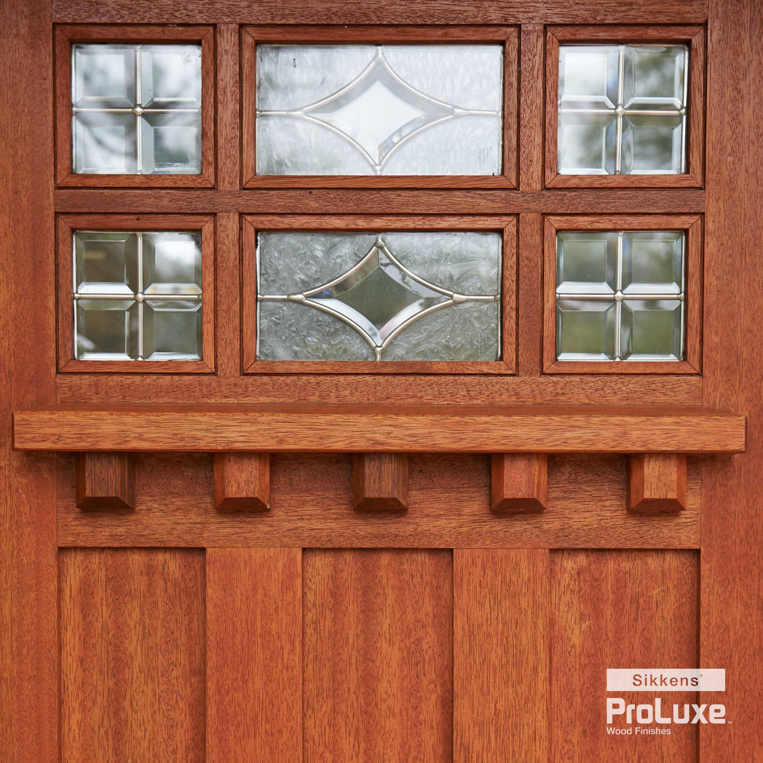 Beautiful Details On A Wooden Front Door Featuring Sikkens