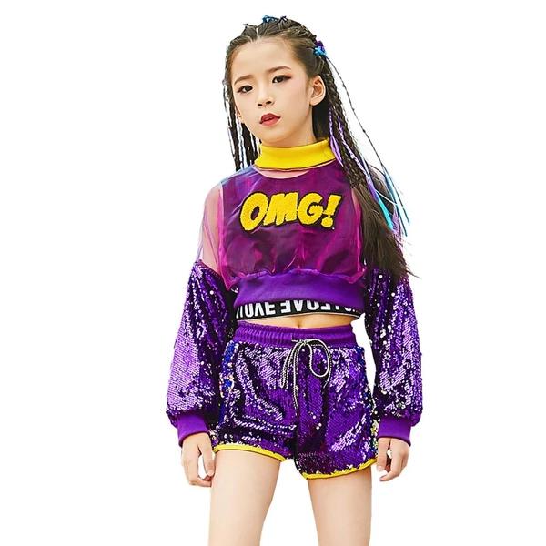 UK Girls Street Dance Wear Costume Sequins Modern Kids Hip Performance Clothes