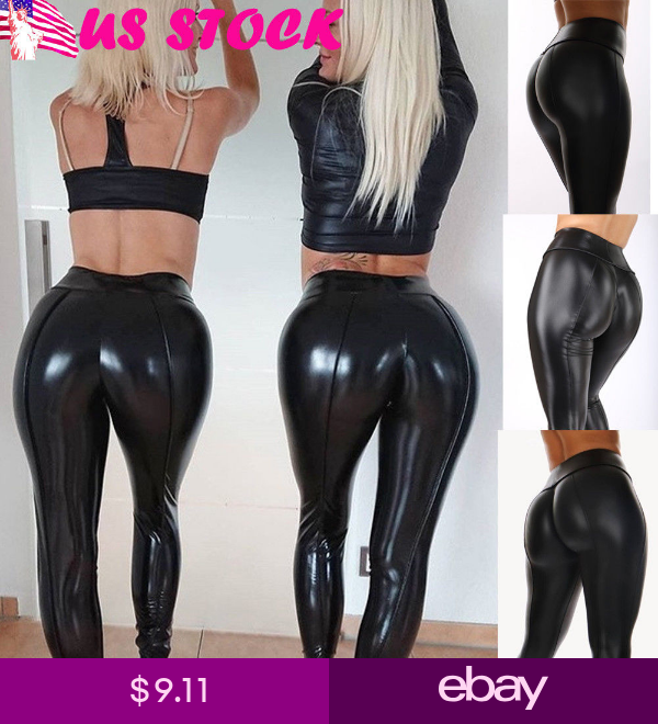 Details about  /Women PU Leather Yoga Pants High Waist Leggings Stretch Casual Sports Trousers