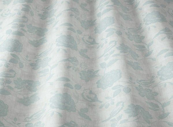 Bird Garden Cotton Fabric Duck Egg Curtains And Upholstery The