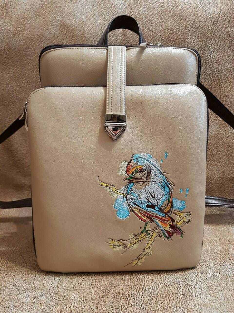 61d7655a2806 Stylish modern ladies bag with European goldfinch on tree branch embroidery   Europeangoldfinch  treebranch  embroideres  Stylish  modern  ladiesbag