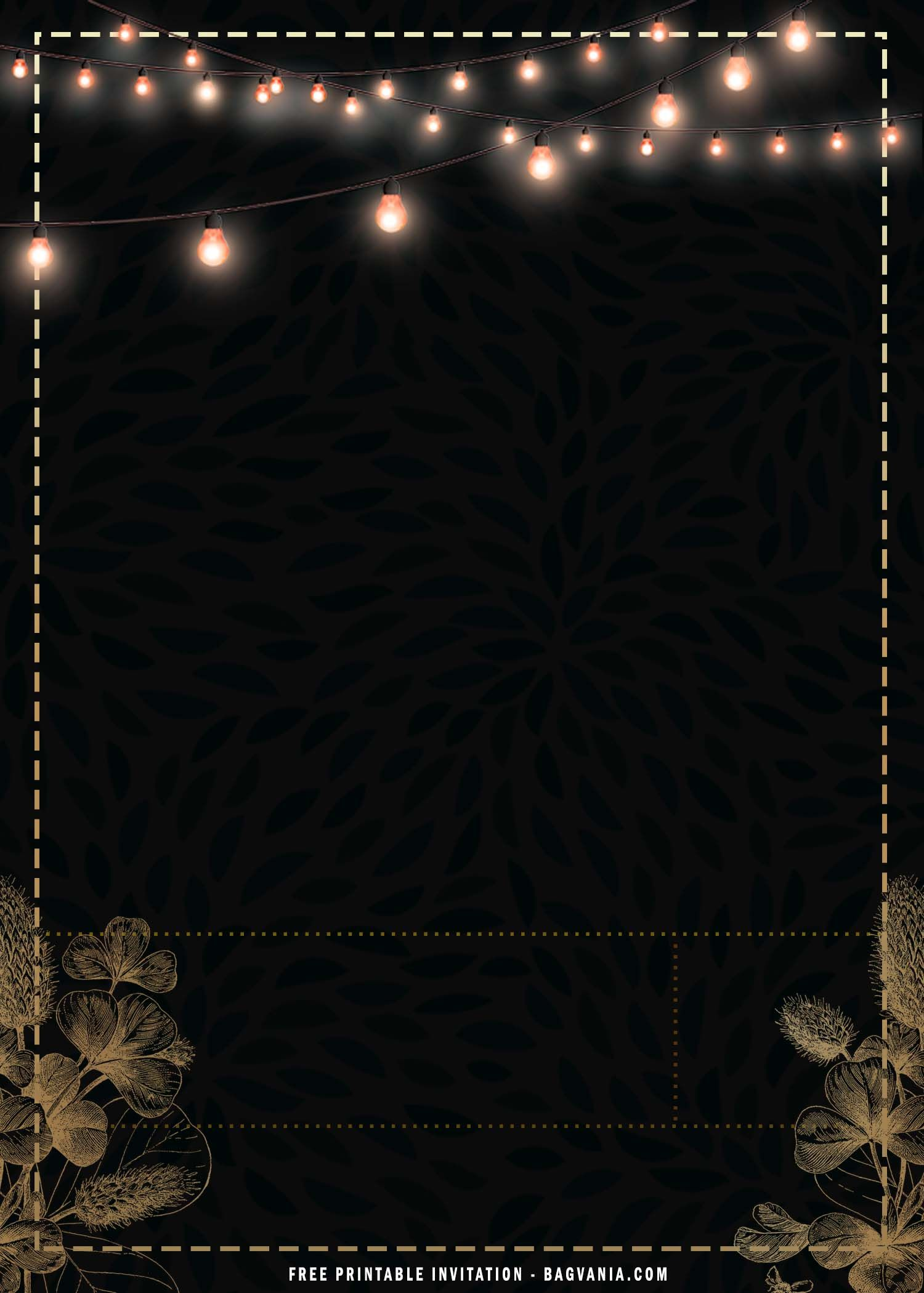 Free Printable Black And Gold Sparkle Invitation Templates Black And Gold Invitations Gold And Black Background Black And Gold Theme