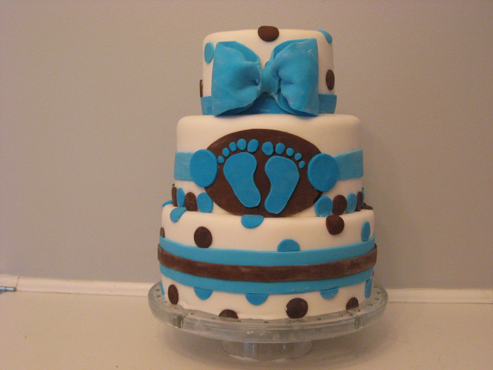 BROWN & BLUE BABY BOY SHOWER 2 TIER DIAPER CAKE