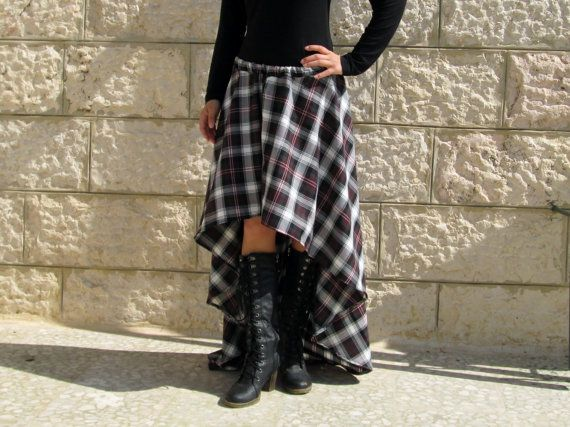 0d4160a7297ce0 Black White Red Plaid high Low skirt costume goth steampunk skirt ...