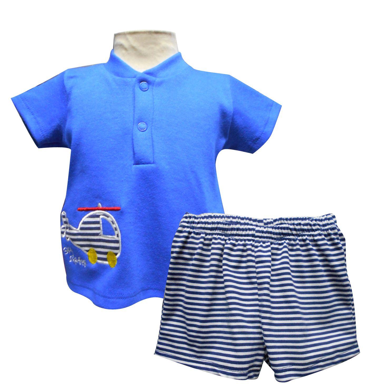Playera cuello tipo mao con bordado y short Tallas 3, 6, 12 y 18 meses.