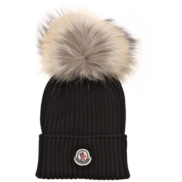 cf3bda55f76 Moncler Kids-girls Wool Rib Knit Hat W  Fur Pompom (600 PLN) ❤ liked on  Polyvore featuring black