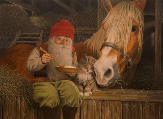 Swedish artist, Jan Bergerlind Tomte Gnome Horse & Kitten Christmas Cards Box of 12 #JB530 #godtnyttår