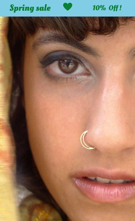 Half Moon Nose Ring Gold Nose Ring Gold Septum Nostril Ring