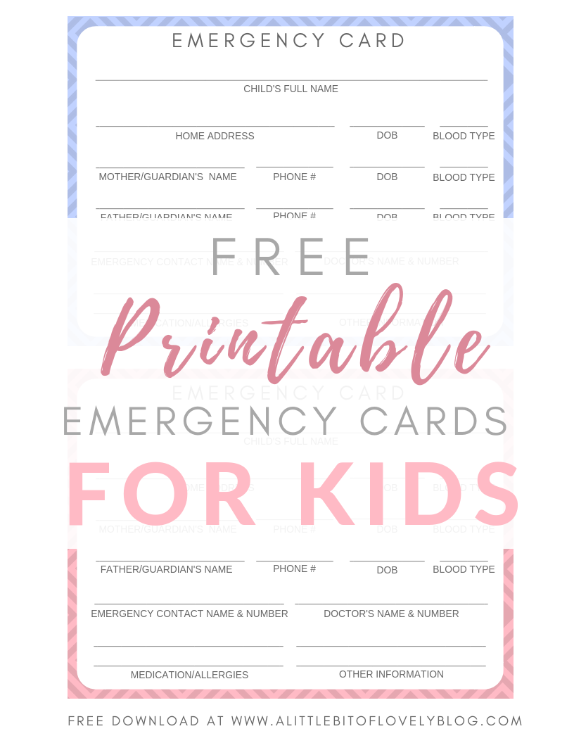 Free Printable Emergency Cards For Your Kids Lifestyle With Leah Free Printables Smart Parenting Kids Cards