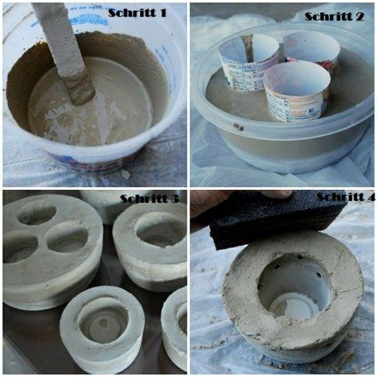 kerzen selber machen -bastelanleitung-schritt 1-4 | beton, Garten ideen