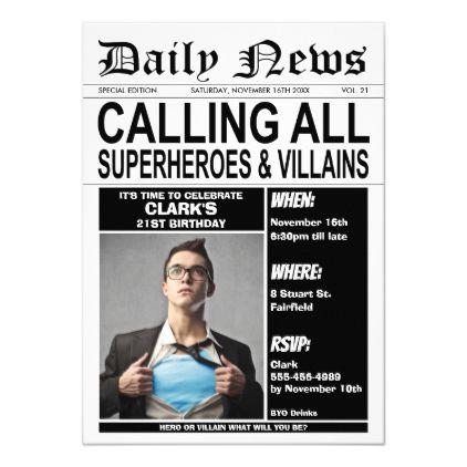 Superheroes or Villains Birthday Party Superhero Invitation | Zazzle.com