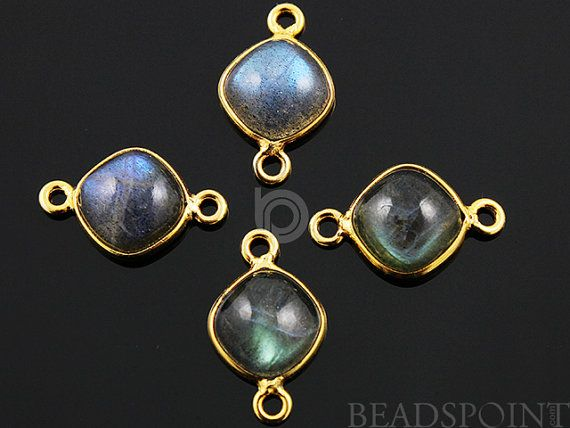 Natural Labradorite Faceted Bezel Cushion Connector by Beadspoint, $7.99