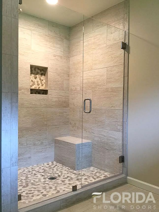 3 8 inline glass shower door and panel frameless with for Large glass tiles for bathroom