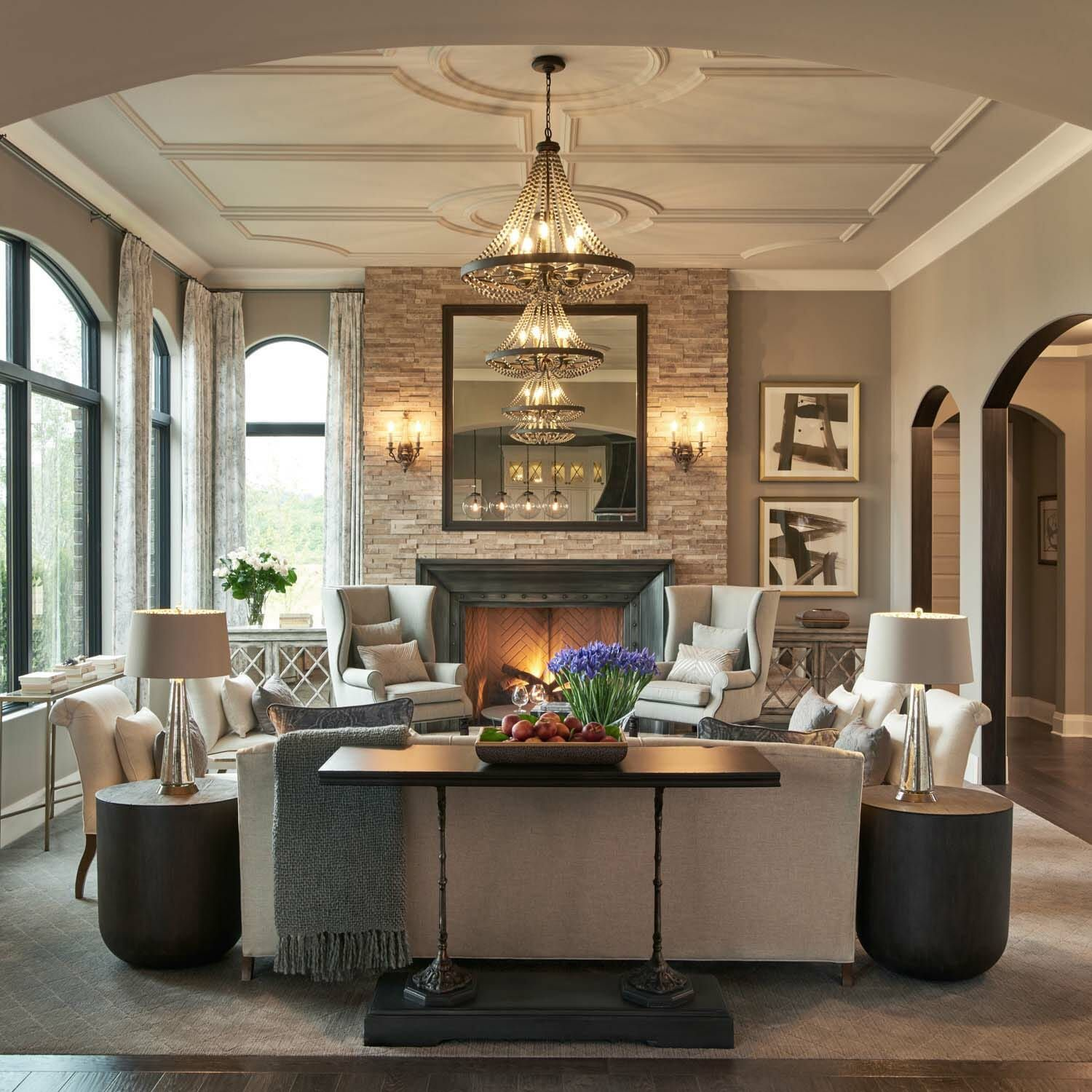 Restoration Hardware styled model home with gorgeous interiors in Michigan #restorationhardware