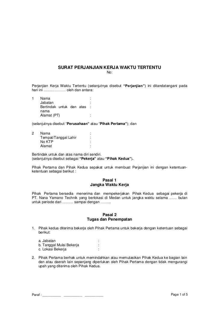 Surat Perjanjian Kerja Waktu Tertentu NoPerjanjian Kerja Waktu