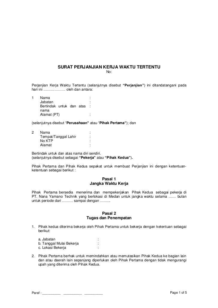 Surat Perjanjian Kerja Waktu Tertentu No Perjanjian Kerja Waktu Tertentu Selanj Surat Picture Places Creative Cv
