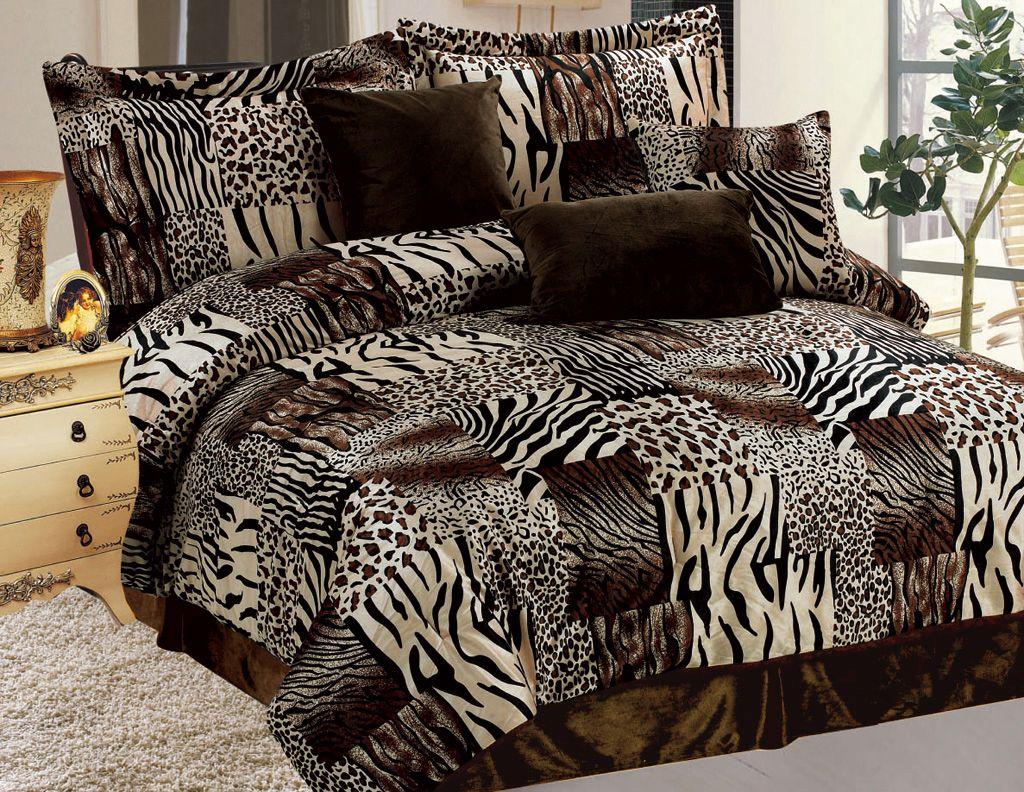 7 Piece Safari Micro Suede Faux Fur Comforter Set King Size Comforter Sets Queen Size Comforter Sets King Size Comforters