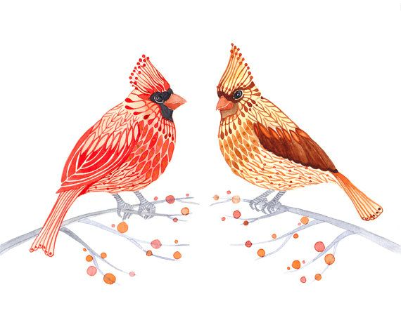 Couple of Cardinals watercolor birds painting print by TevaKiwi - inspiration for embroidery, applique, or other craft/art styles for the items listed on my questionnaire