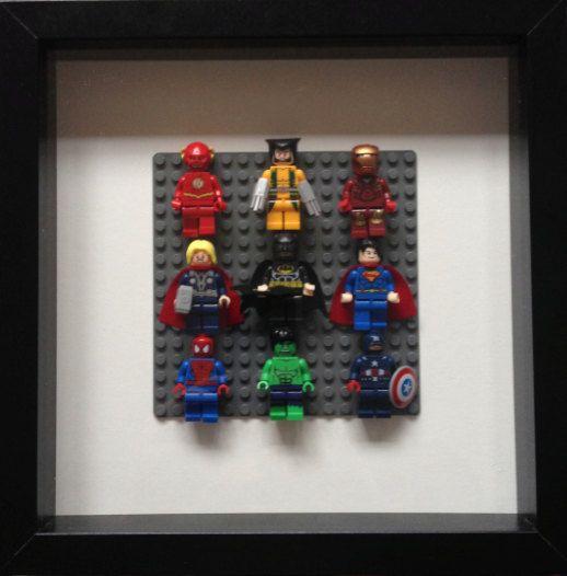 Lego super heroes framed wall art minifigures flash - Spiderman batman lego ...