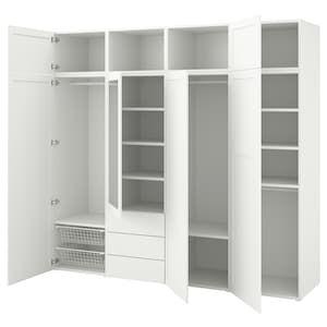 Platsa Wardrobe With 7 Doors 3 Drawers White Sannidal Ridabu