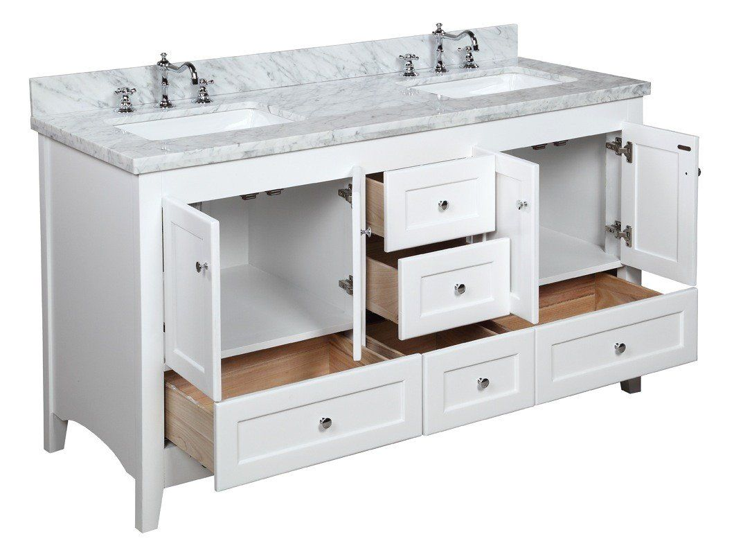 Abbey 60 Inch Double Vanity With Carrara Marble Top Double Vanity Bathroom Traditional Bathroom Traditional Bathroom Vanity