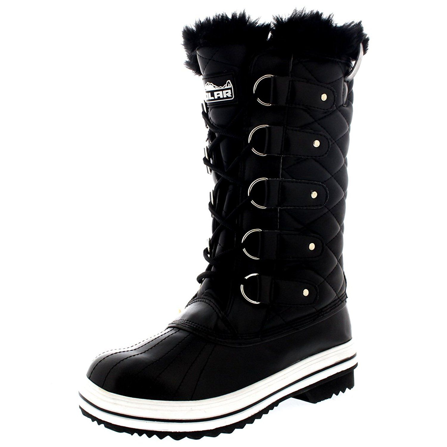 606920b00d8 Womens Snow Boot Nylon Tall Winter Snow Waterproof Fur Lined Warm ...