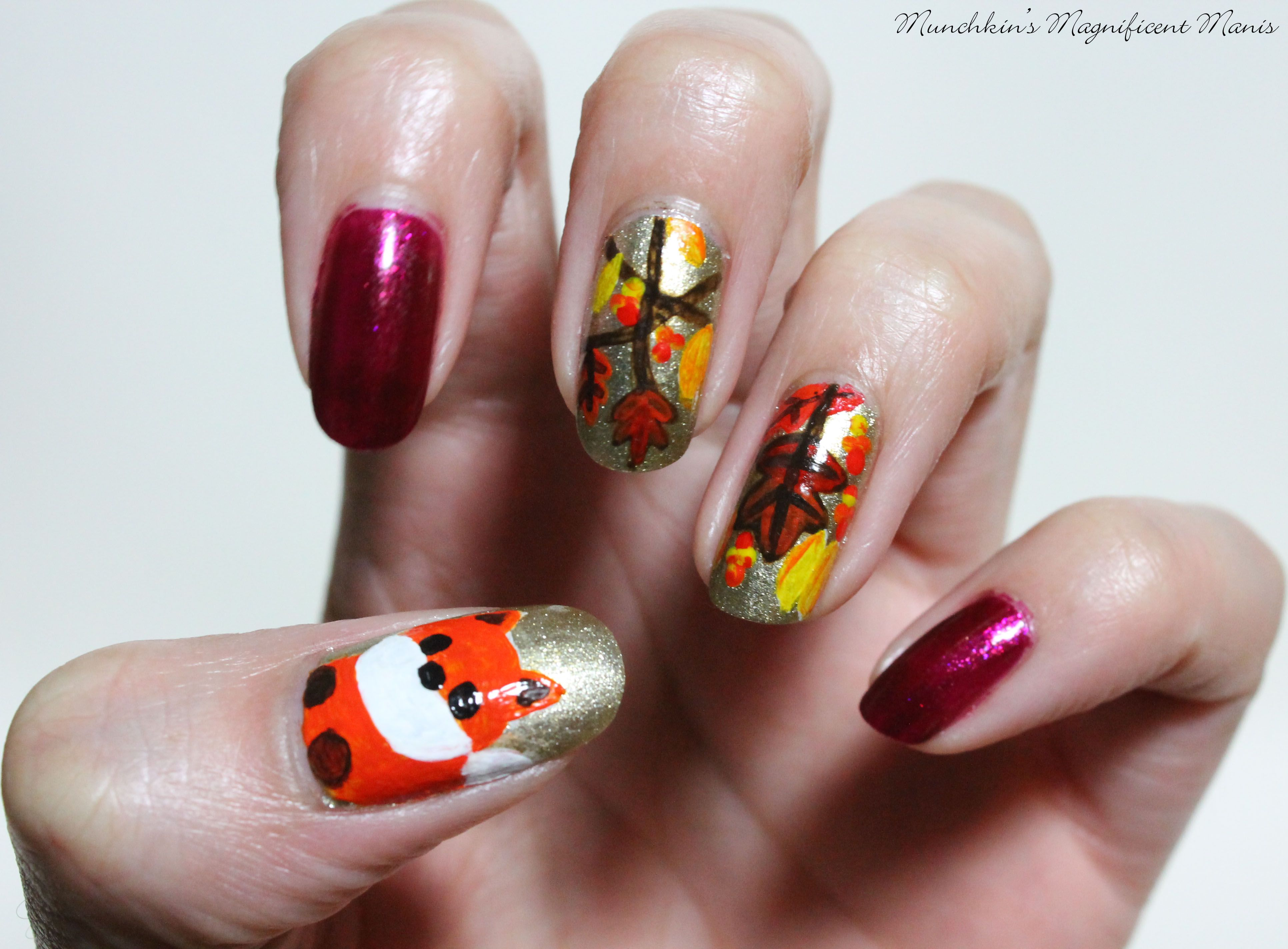 Fall Nail Design, with a fox | Munchkin\'s Magnificent Manis- Nail ...