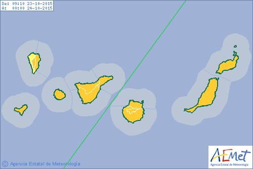 AEMET activa para Canarias aviso naranja por fuertes lluvias hoy viernes 23 octubre      Aviso nara...