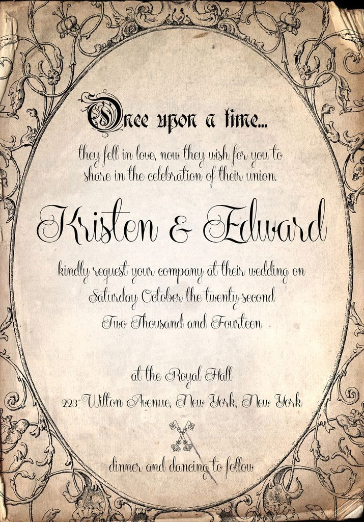 Storybook fairytale once upon a time wedding Invitation by Tiffany ...