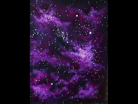 Easy Acrylic Painting Magenta Nebula Time Lapse Youtube Galaxy Painting Galaxy Painting Acrylic Simple Acrylic Paintings