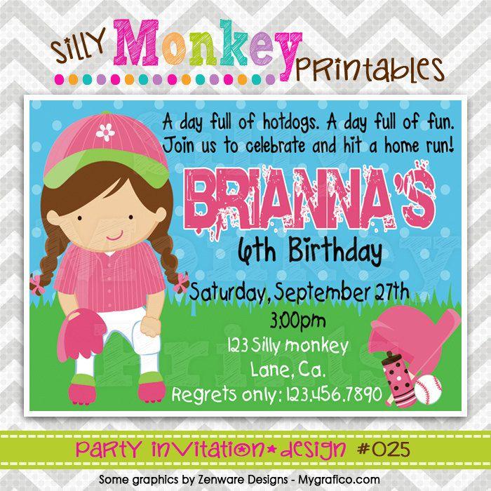 025: DIY - Softball Fun Party Invitation Or Thank You Card. $12.95 ...