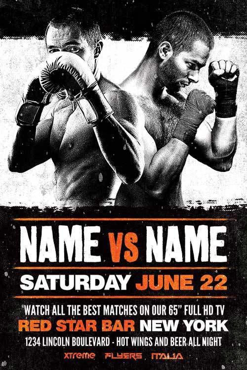Boxing Sports Event Free Flyer Template Portfolio Ideas