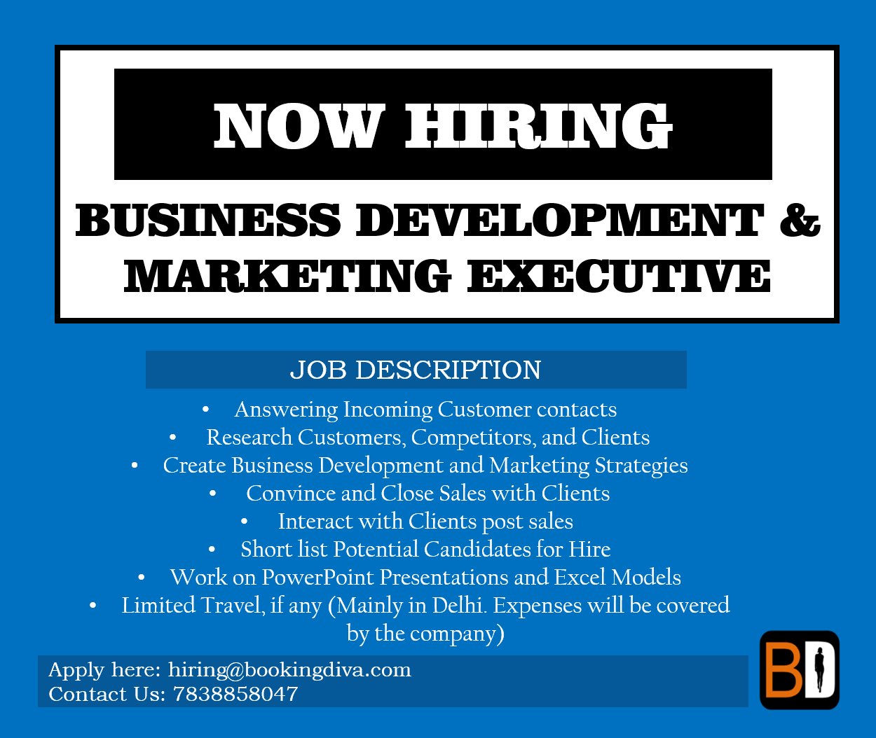 Job Role: BUSINESS DEVELOPMENT/MARKETING EXECUTIVE. (Full Time