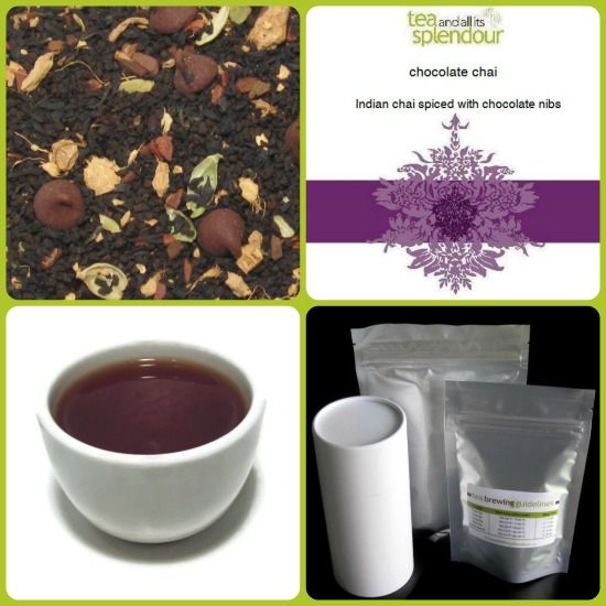 chocolate chai - black tea, ginger root, green cardamom, chocolate chips and chocolate flavour.
