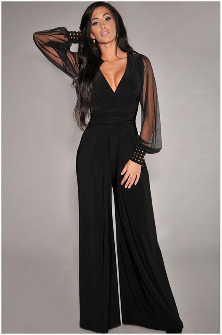 64037c1ec51f Womens Loose Jumpsuit Casual Elegant Black Chiffon Long Sleeve V Neck  Outfits