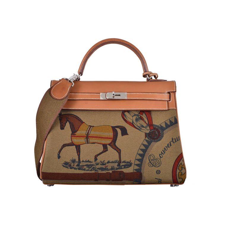 87eeaa8fbb20 COLLECTORS HERMES KELLY BAG 32cm AMAZONE BARENIA   TOILE HORSE PRINT ...
