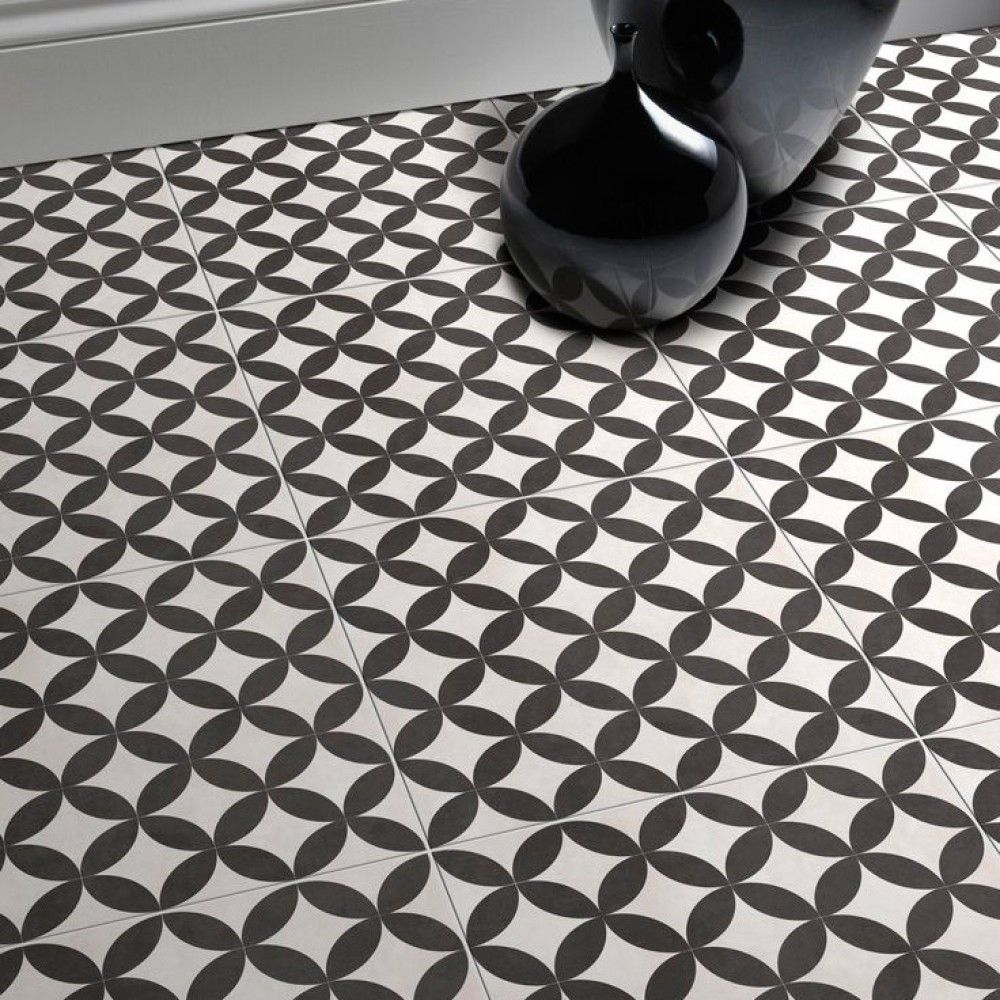 Endless Circles Black Floor Tiles Tiled Hallway Hallway Tiles