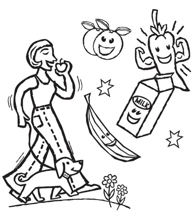 The Girl Eat Healthy Food Coloring Page