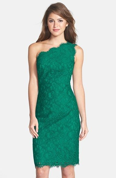 One Shoulder Lace Sheath Dress Fashion Victim Vestidos
