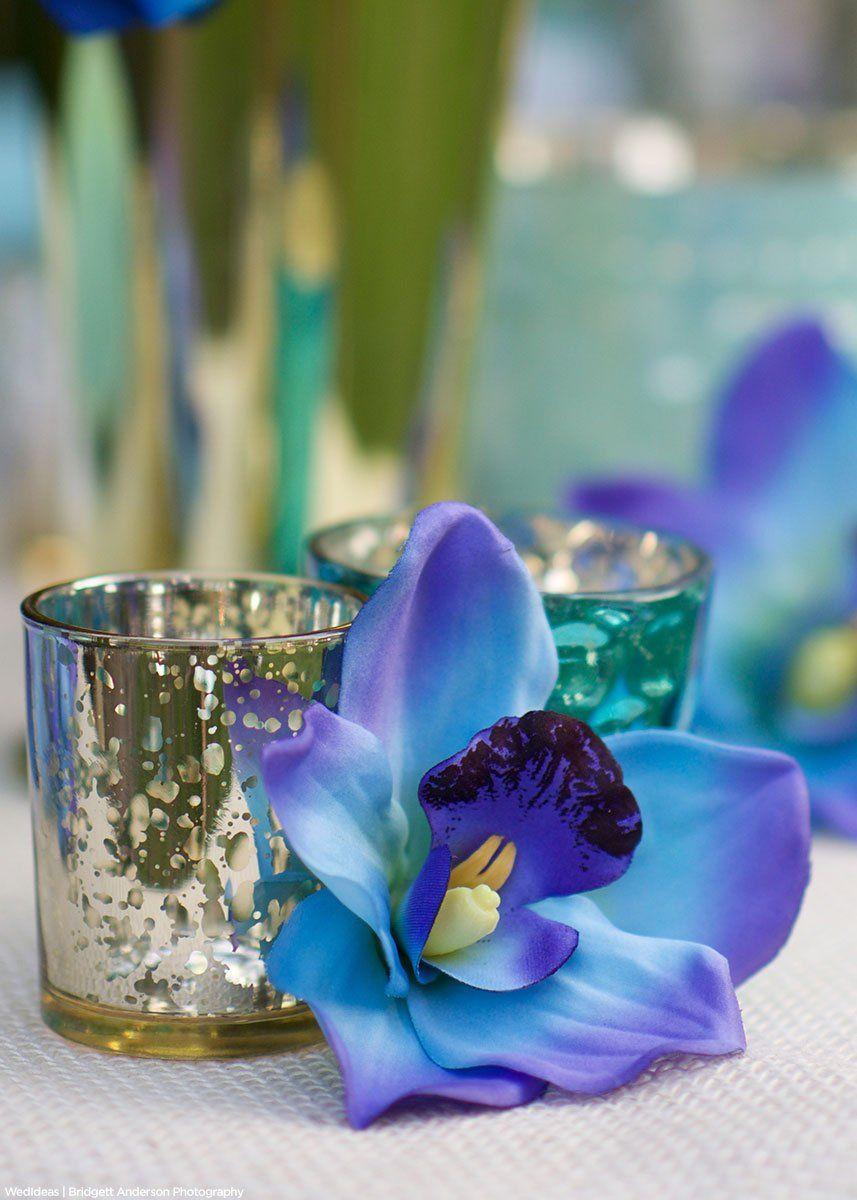 Cymbidium Orchid Silk Flower Spray In Blue 36 Tall With 10 Flowers Silk Flowers Wedding Cymbidium Orchids Silk Orchids